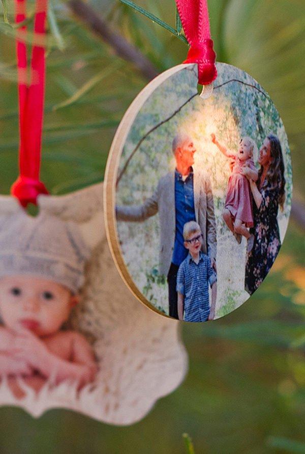 wooden photo ornament
